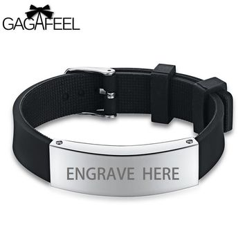 GAGAFEEL Engraving Bracelet For Men Stainless Steel Silicone Chain ID Bracelets & Bangles Personalized Unique Male Gift H1135