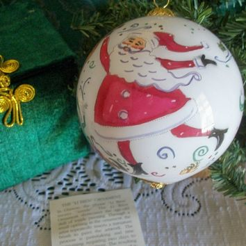 Li Bien Christmas Tree Ornament Santa and Elves Inside Painted Chinese Art Glass Ball Christmas Decoration from A Vintage Addiction