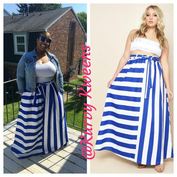 Stripe Flare Maxi Skirt with Pockets