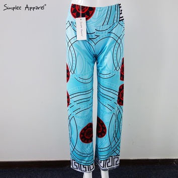 Simplee Apparel Light Blue Geometric Pattern Palazzo Pants