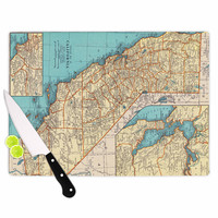 "Catherine Holcombe ""So Cal Surf Map"" Beige Blue Cutting Board"