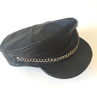 70s Black Leather Motorcycle Cap with Chain | Distressed Leather Biker Hat Leather Cap Newboy Captain Military Leather Hat Mens Womens Large