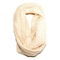 Paula Bianco Frayed Infinity Scarf in Cream