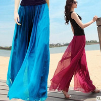 Casual Fashion Women Pant Elastic Waist Loose Trousers Women Summer Chiffon Flare Women Pants Wide Leg Pant Women Sport Pants