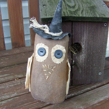 Witchy Owl Primitive Grungy Fabric Shelf Sitter/ Doll For Autumn and Halloween