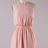 Halter Dress with Lace Detail - Blush