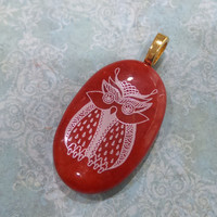 Owl Necklace Slide, Red Pendant with White Owl, Fused Glass Jewelry - Bold Wisdom  - -6