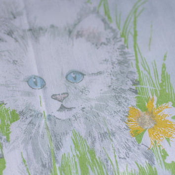 Vintage Kitten Twin Size Bed Sheet, Retro Kitty Cat Girls Bedding