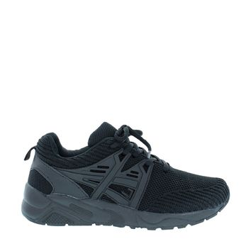 Athletic Lace Up Sneaker (BLACK)