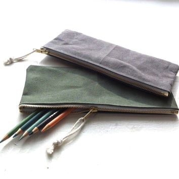 Waxed canvas zipper pouch, pencil case - Volcano Store