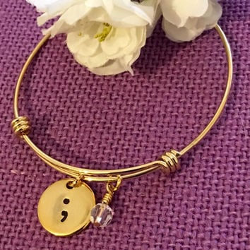 Semicolon Bracelet - Gold bracelet - Semicolon Jewelry - Suicide Awareness - Depression Awareness - Semicolon