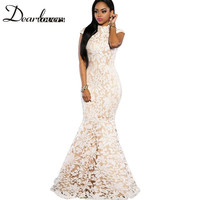 Dear lover White Black Sequin Lace Nude Mermaid Gown Summer Dress Party Evening Elegant