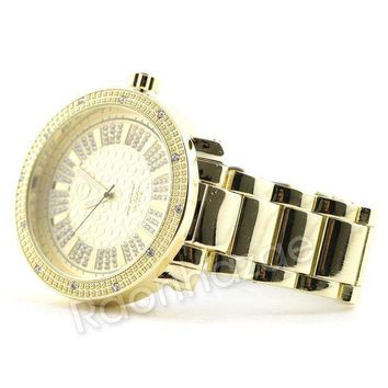 Men Iced Out 14k Gold Pt Big Face Watch F64g