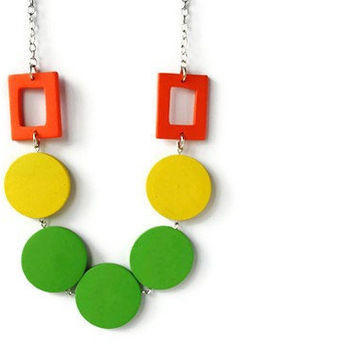 Neon Jewelry. Wood Necklace in Citrus Colors. Beaded Necklace. Bright Colors. Perfect Summer Fashion.