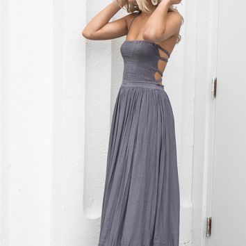 Chasing A Feeling Charcoal Maxi Dress