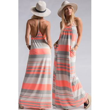 Summer Getaway Maxi Dress - Neon Coral