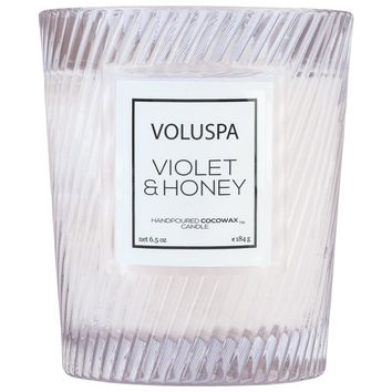 VOLUSPA VIOLET & HONEY CLASSIC TEXTURED GLASS CANDLE