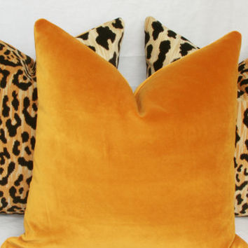 "Dark gold velvet pillow. 18"" x 18"". 20"" x 20"". 22"" x 22"". 24"" x 24"". 26"" x 26"". lumbar sizes. Robert Allen exquisite 14 karat."