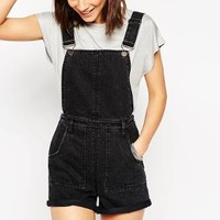 ASOS | ASOS Denim Roll Hem Overall Short In Washed Black at ASOS