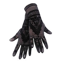 HENNA GLOVES - Gothic Black Mesh Gloves with Mehndi Patterning