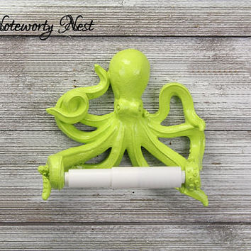 CUSTOM COLORS Octopus Toilet Paper Holder // bathroom decor / nautical decor / nautical bathroom / sea theme bathroom / lime green Octopus