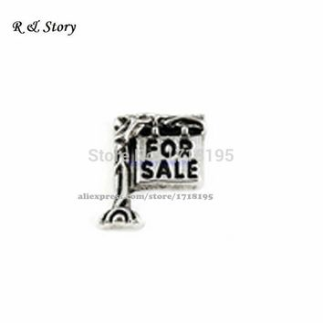 Silver For Sale sign/Realtor Floating Charm for Glass Memory lockets LFC_777