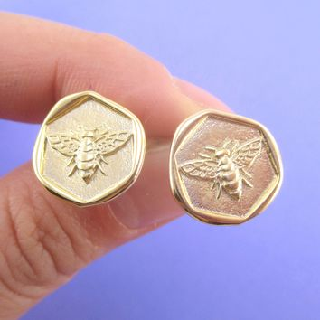 Round Bumble Queen Bee Wax Seal Shaped Stud Earrings