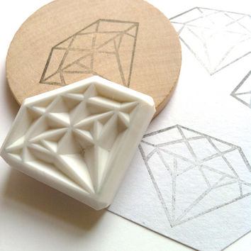 diamond rubber stamp. hand carved rubber stamp. large diamond. mounted. for diy wedding, packaging and making cards. READY TO SHIP