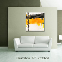 "36"" Yellow Gray Black Original Square Abstract Painting on Canvas Wall Art Home Decor Wall Hanging Unstretched AU30"