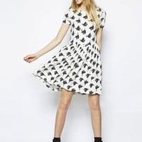 White Pigeon Print Short Sleeve Shirtwaist A-Line Pleated Mini Dress