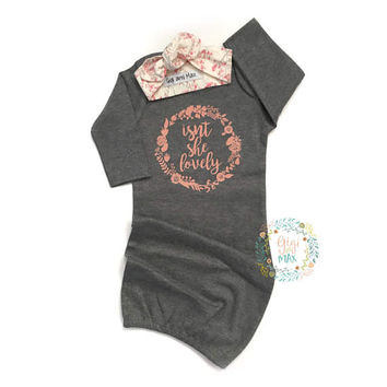 Baby girl gown Isn't she Lovely, baby gown Baby girl coming home outfit - gray gown going home set brand new, baby shower gift