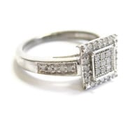 Sterling Silver Micro Diamond Ring Size 6