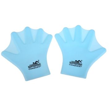 1 Pair Swimming Webbed Gloves Correct Gesture Increase Speed Adult Frog Finger Fin Diving Hand Wear Silicon Paddles 3 colors