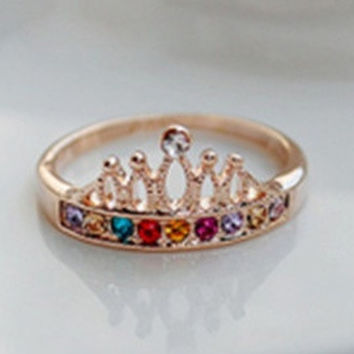 New Fashion Vintage Elegant Fair Maiden Multicolor rhinestone Crystal Queen Crown Ring Jewelry for women = 1669288900
