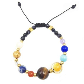 Unisex Handmade Solar System Bracelet Universe Galaxy The Nine Planets Guardian Star Natural Stone Beads Bracelets Bangles For Women and Men Gift
