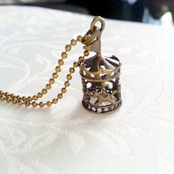 Carousel Necklace, Vintage Carousel, Merry Go Round Necklace, Charm Necklace