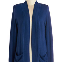 ModCloth Maternity Mid-length Long Sleeve Coffee Date Night Cardigan in Navy
