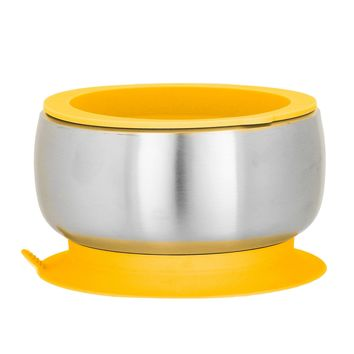 Yellow Avanchy Stainless Steel Suction Baby Bowl + Air Tight Lid