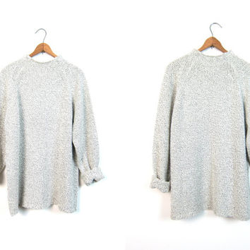 90s Speckled Mock Neck Sweater Raglan Knit Preppy Black White Soft Knit Jumper Long Gray Knit Turtleneck Sweater Womens size Large