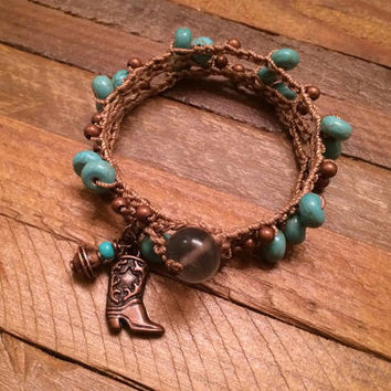 Cowgirl Up - Boho Country Wrap Bracelet - Cowgirl Boot Charm - Bronze and Turquoise