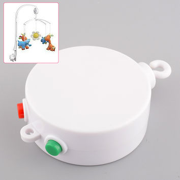 White 12 Melodies Baby Kids Mobile Toy Windup Movement Crib Bed Bell Electric Autorotation Music Box