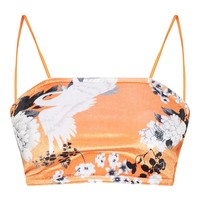 Petite Orange Floral Velvet Strappy Crop Top