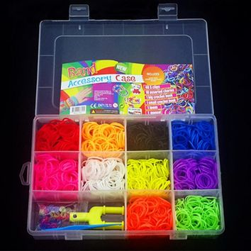 1500pcs Rubber Bands Loom DIY Handmade Weaving Lacing Tool box Silicone braided Bracelet Kit Kids Toys for Children Girls 5 7