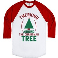 Twerking Around the Christmas Tree-Unisex White/Red T-Shirt