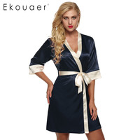 Women's Kimono Robe Knee Length Bathrobe Sexy Lingerie Sleepwear Short Satin Lace Nightwear Bridesmaid Robes XS-XL