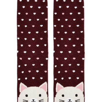 Cat Hearts Graphic Crew Socks