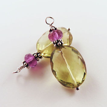 Lemon Quartz and Purple Amethyst Earrings, Interchangeable, February Birthstone, Elegant Earrings, Valentine Gift for Her, Gemstone Jewelry