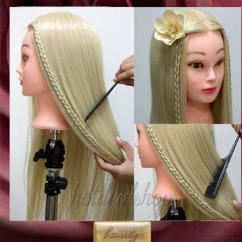 "26"" Super Long Hair Hairdressing Training Doll Head Mannequin Manikin Hair Styling Doll Salon Model"