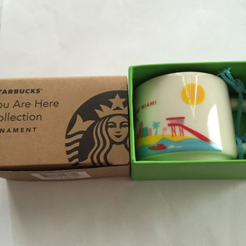 Starbucks Coffee You Are Here Miami Ceramic Mug Ornament New with Box