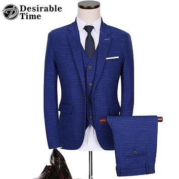 Men Royal Blue Plaid Prom Suit Fashion Slim Fit Wine Red Wedding Suits